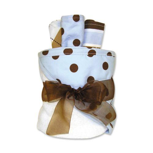 Trend Lab Polka-Dot Towel and Washcloth Gift Cake Set