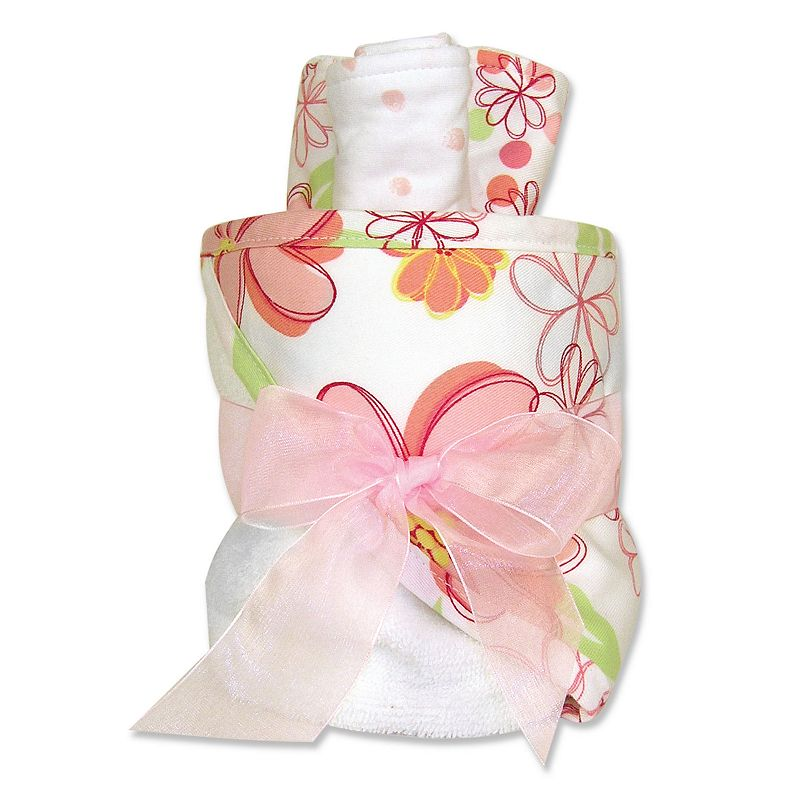 Trend Lab Hula Baby Floral Towel and Washcloth Gift Cake Set