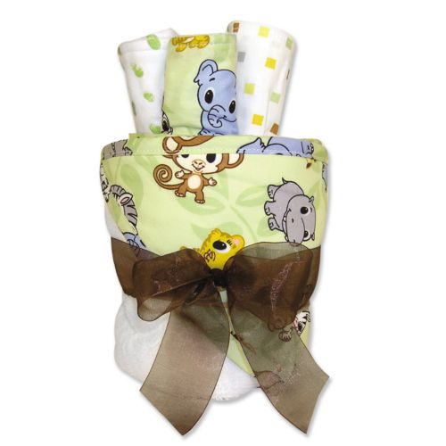 Trend Lab Chibi Zoo Animals Towel and Washcloth Gift Cake Set