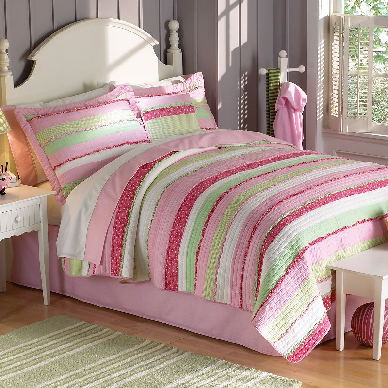 PEM America Anna's Ruffle Pink Quilt Set - Twin