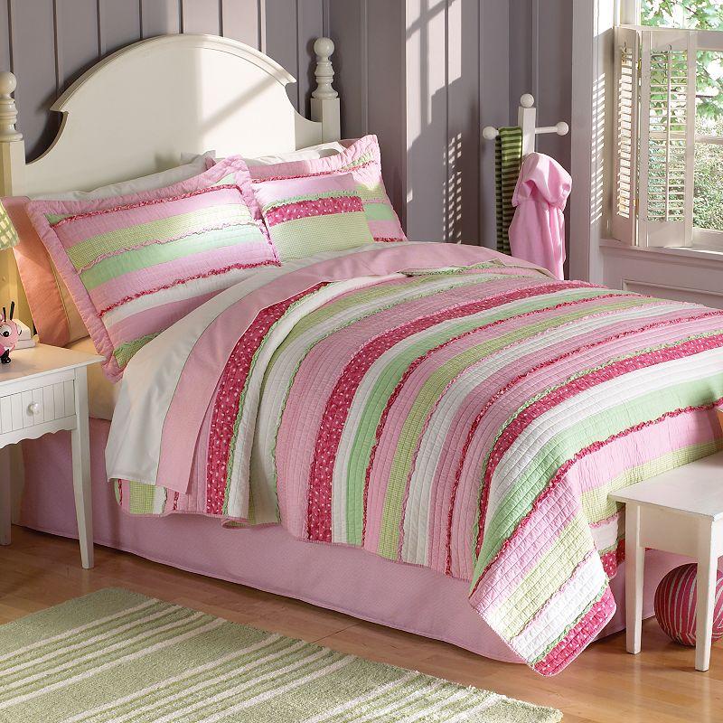 PEM America Anna's Ruffle Pink Quilt Set - Full/Queen