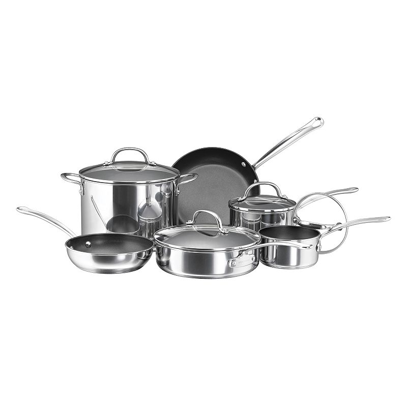 Farberware 10-pc. Nonstick Stainless Steel Cookware Set