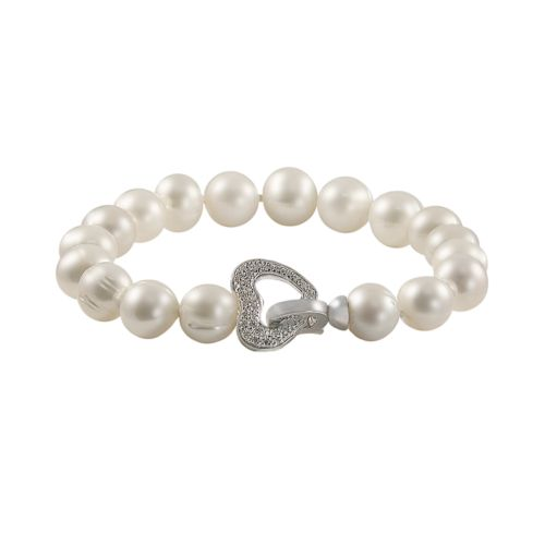 Sterling Silver 1/10-ct. T.W. Diamond and Freshwater Cultured Pearl Heart Bracelet
