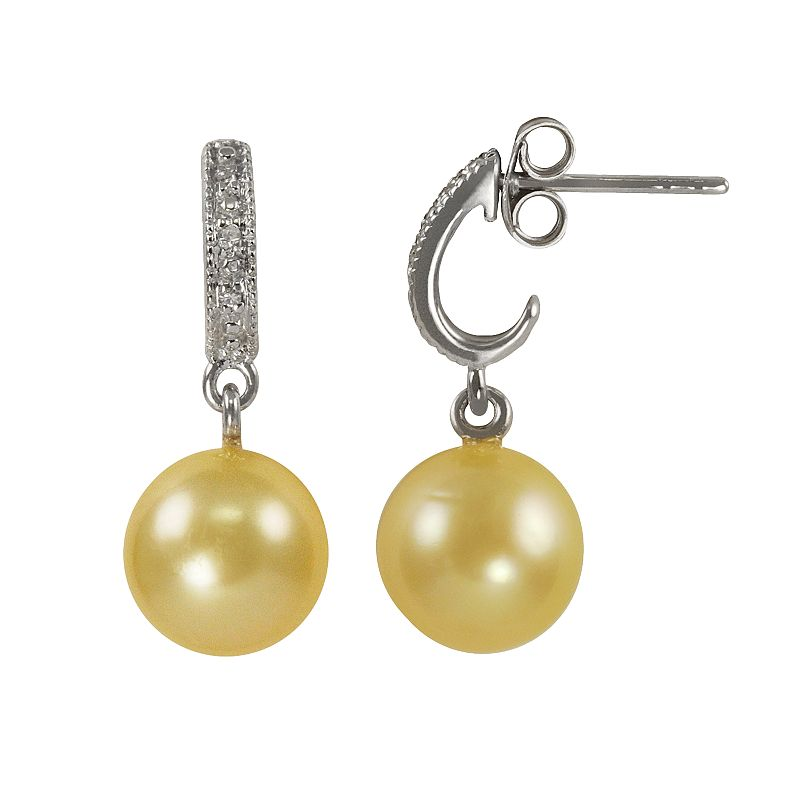 Sterling Silver Golden South Sea Cultured Pearl and Diamond Accent Drop Earrings
