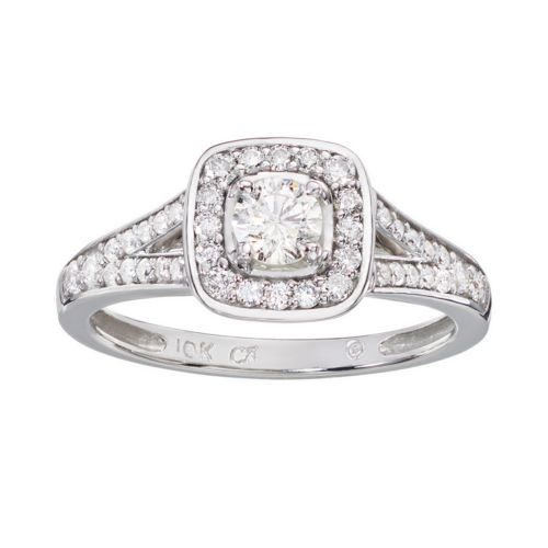 Cherish Always Round-Cut Diamond Frame Engagement Ring in 10k White Gold (3/4 ct. T.W.)