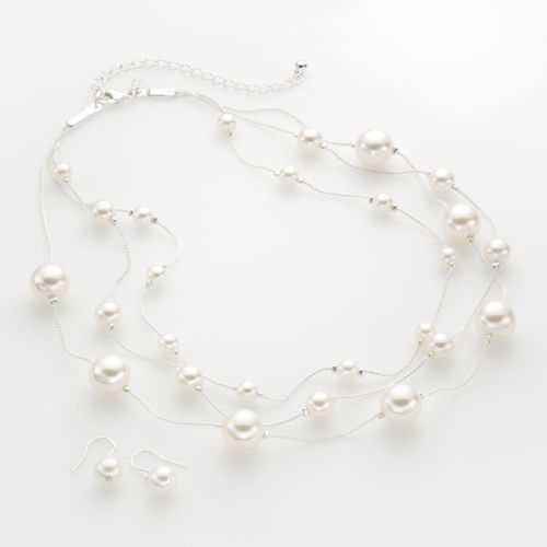 Croft & Barrow® Silver Tone Simulated Pearl Multistrand Necklace and Drop Earring Set