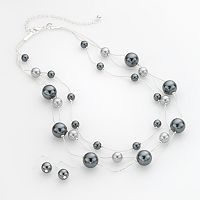 Croft & Barrow® Silver Tone Simulated Pearl Multistrand Necklace & Drop Earring Set
