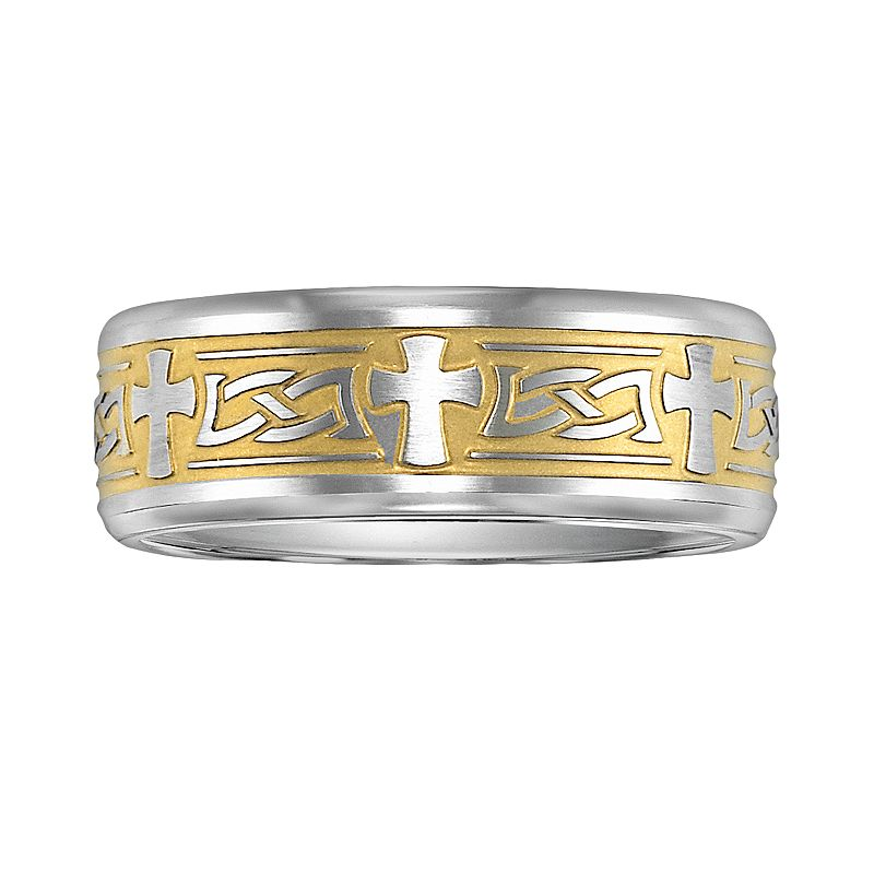 Cherish Always Stainless Steel Two Tone Cross Wedding Band - Men