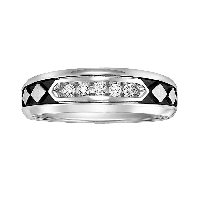 Cherish Always Stainless Steel Black Ion 1/8-ct. T.W. Diamond Checkered Wedding Band - Men