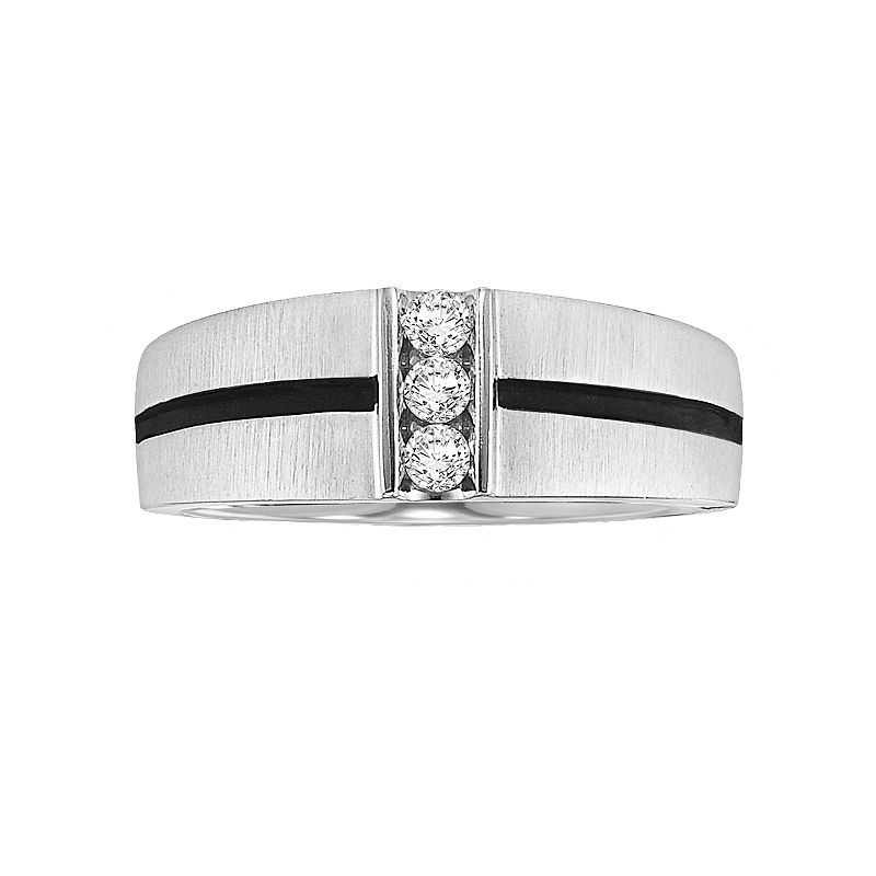 Cherish Always Stainless Steel 1/5-ct. T.W. Diamond Striped Wedding Ring - Men