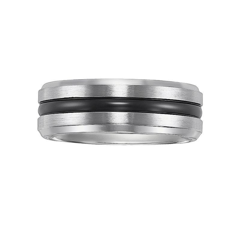 Cherish Always Stainless Steel Black Ion Striped Wedding Band - Men