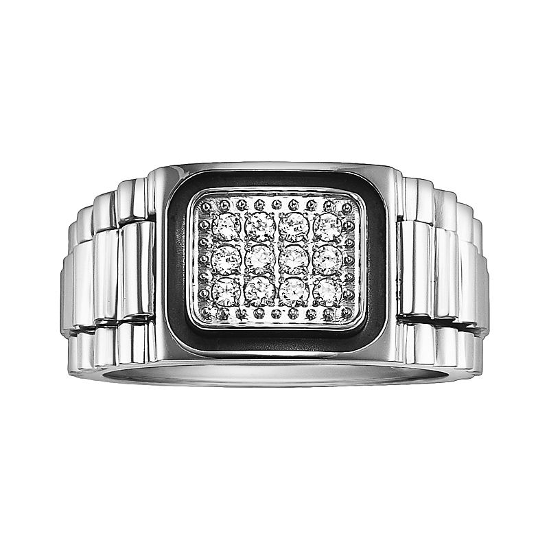 Cherish Always Stainless Steel Black Ion 1/5-ct. T.W. Diamond Ring - Men