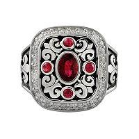 Sterling Silver 1/2-ct. T.W. Diamond & African Ruby Fleur-de-Lis Etruscan Ring