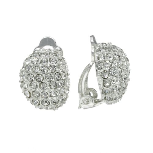 Chaps Silver Tone Simulated Crystal Oval Clip-On Earrings