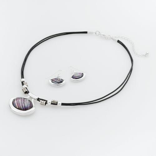 Croft & Barrow® Silver-Tone Oval Multistrand Pendant and Drop Earring Set