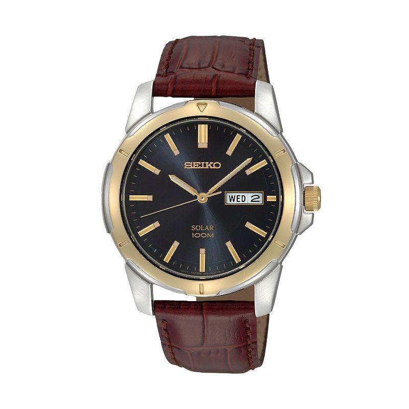 Seiko solar stainless steel two tone leather watch men for Seiko solar