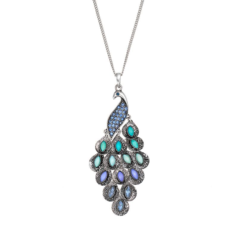 Mudd® Silver-Tone Simulated Crystal Peacock Long Pendant