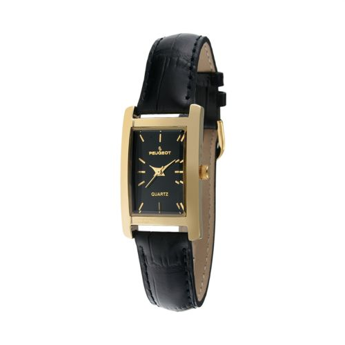 Peugeot Gold Tone Leather Watch - Women