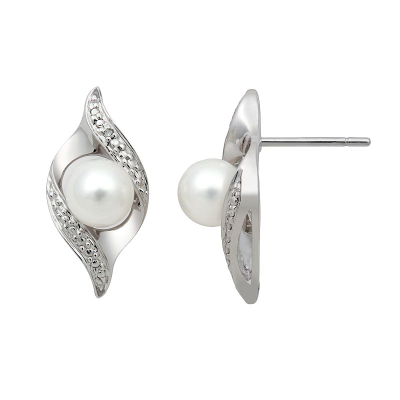 Sterling Silver Freshwater Cultured Pearl and Diamond Accent Swirl Drop Earrings