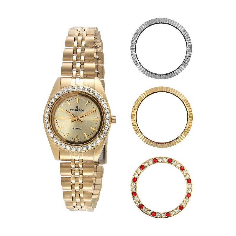 Peugeot Women's Crystal Watch & Interchangeable Bezel Set - 405G