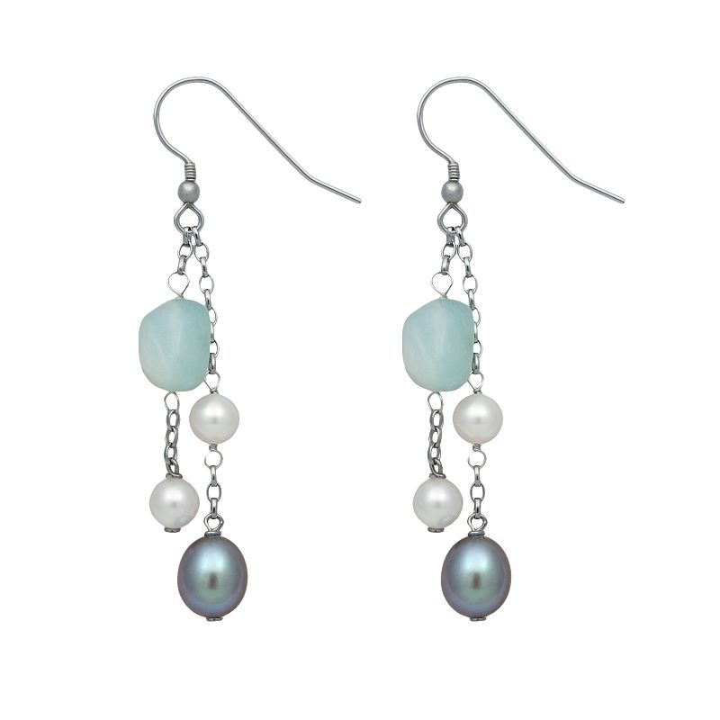 Sterling Silver Dyed Freshwater Cultured Pearl and Aquamarine Beaded Drop Earrings