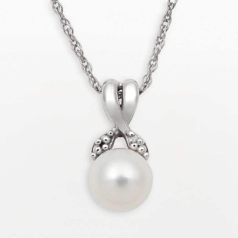Sterling Silver Freshwater Cultured Pearl and Diamond Accent Crisscross Pendant