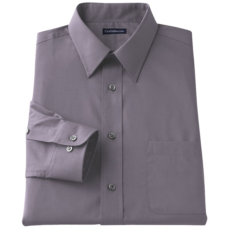 Men's Croft & Barrow® Classic-Fit Solid Broadcloth Point-Collar Dress Shirt