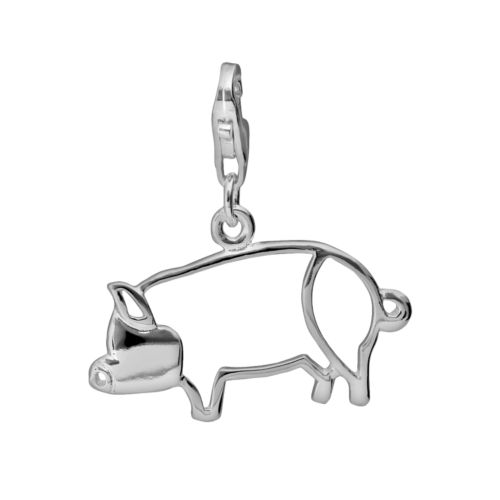 Sterling Silver Openwork Pig Charm