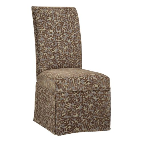 Chenille Leaves Skirted Dining Chair Slipcover