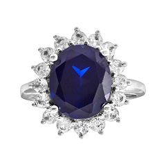 10k White Gold Blue & White Lab-Created Sapphire Ring by