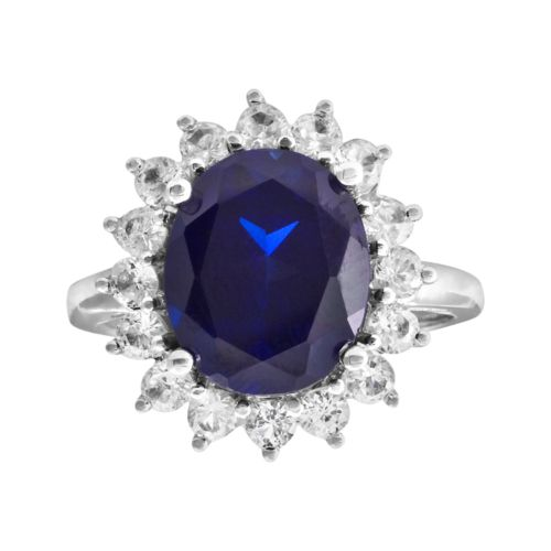 10k White Gold Blue and White Lab-Created Sapphire Ring