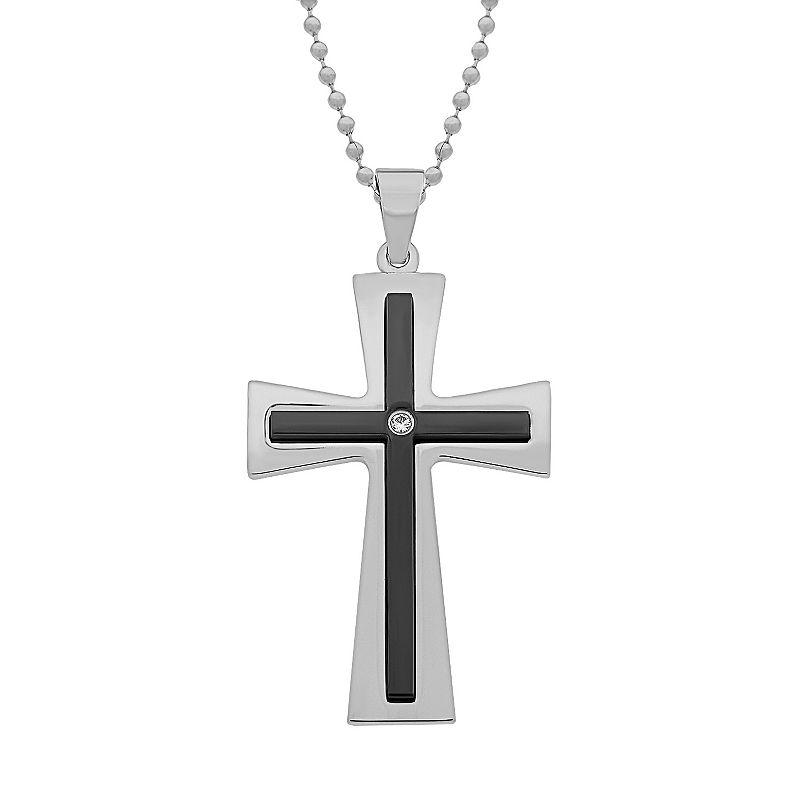 Stainless Steel Black Ion Cubic Zirconia Cross Pendant - Men