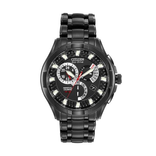 Citizen Watch - Men's Eco-Drive Calibre 8700 Black Ion-Plated Stainless Steel Perpetual Calendar - BL8097-52E