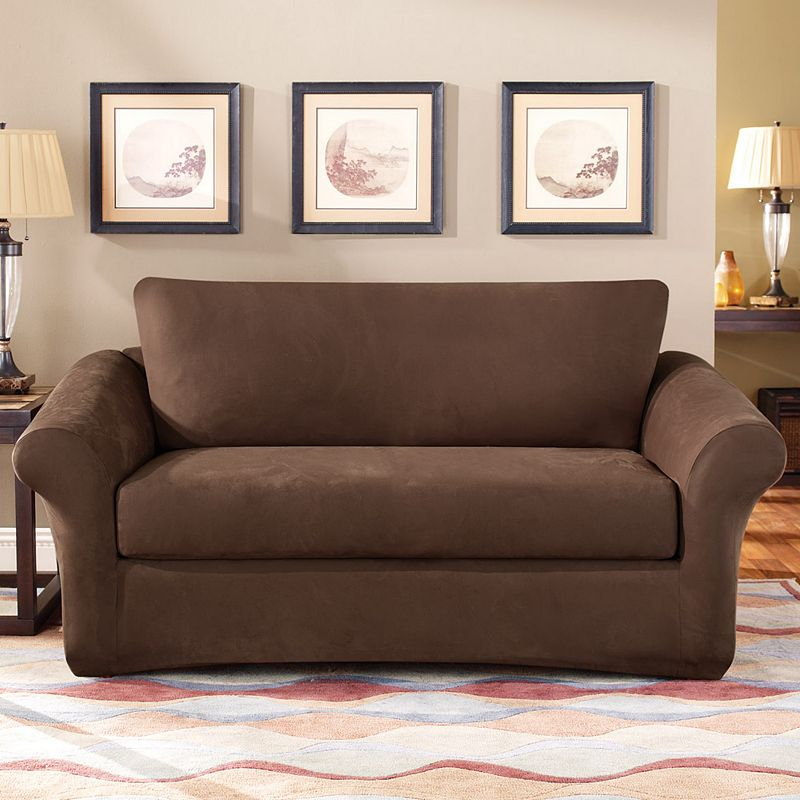 Sure Fit Stretch Suede Loveseat Slipcover 3 Piece