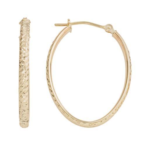 10k Gold Textured Oval Hoop Earrings