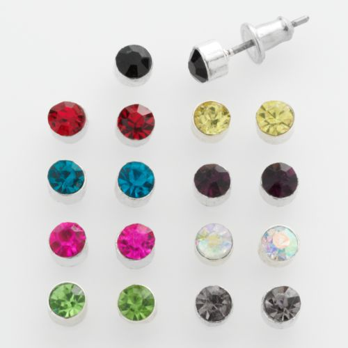 SO Silver Tone Simulated Crystal Stud Earring Set
