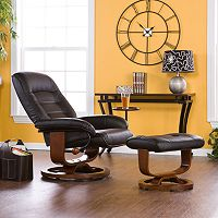 Leland Black Leather Recliner & Ottoman