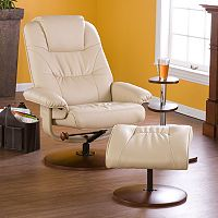 Leland Taupe Leather Recliner & Ottoman