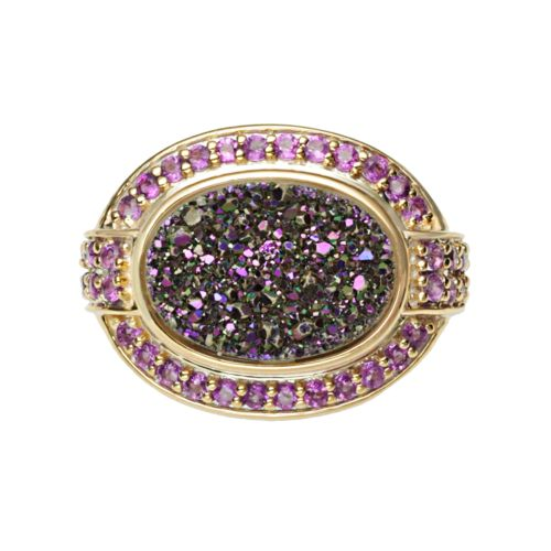 18k Gold Over Silver Purple Drusy and Amethyst Ring