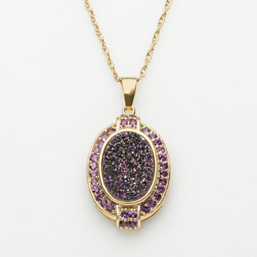 18k Gold Over Silver Purple Drusy and Amethyst Pendant