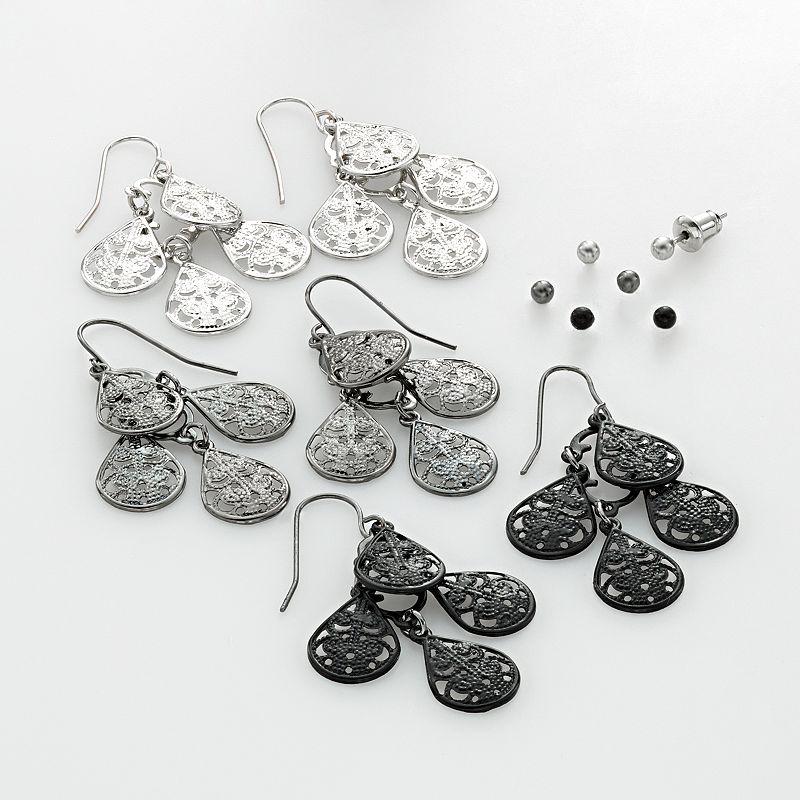 SO® Two Tone Ball Stud & Filigree Chandelier Earring Set
