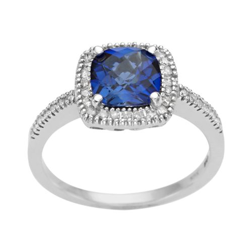 10k White Gold 1/5-ct. T.W. Diamond and Lab-Created Sapphire Frame Ring