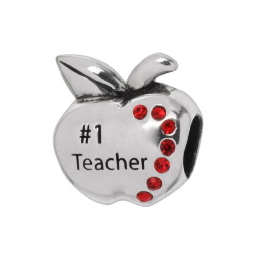 Individuality Beads Sterling Silver Crystal Number 1 Teacher Apple Bead