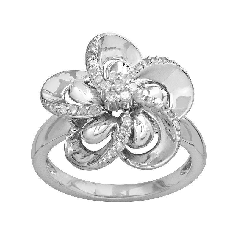 Sterling Silver 1/4-ct. T.W. Diamond Flower Ring