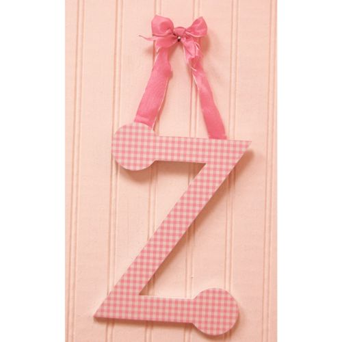 A to Z Pink Gingham Hanging Letters