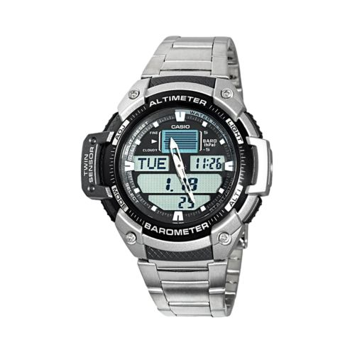 Casio Men's Twin Sensor Stainless Steel Analog & Digital Chronograph Watch