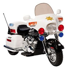 National Products Police Motorcycle Ride-On White by