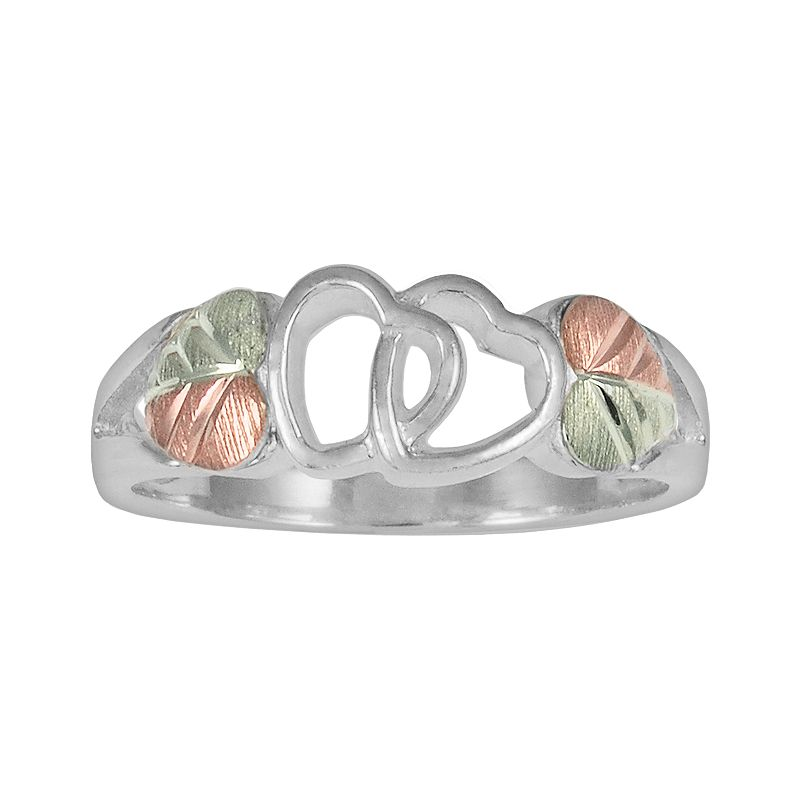 Black Hills Gold Tri-Tone Heart & Leaf Ring in Sterling Silver