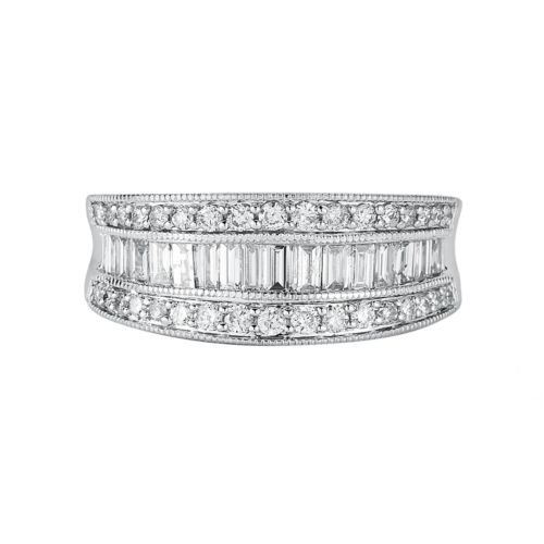 10k White Gold 1-ct. T.W. IGI Certified Diamond Multirow Ring