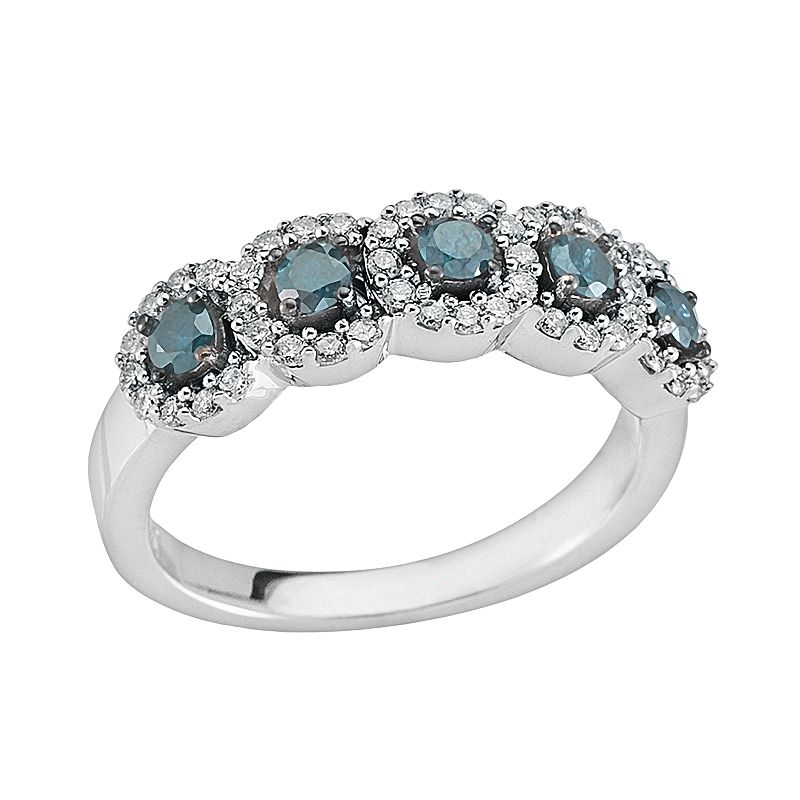 Sterling Silver 3/4-ct. T.W. Blue and White Round-Cut Diamond Halo Ring
